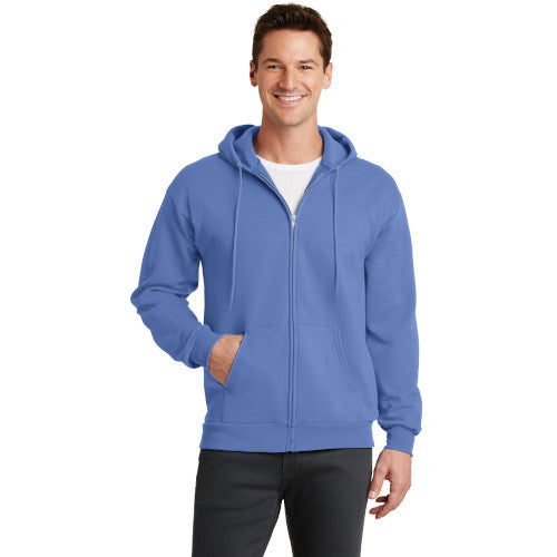 Carolina Blue Custom Full Zip Hooded Sweatshirt with logo