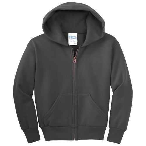 Charcoal Custom Youth Full Zip Hooded Sweatshirt