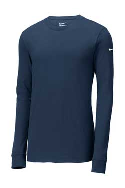 College Navy Custom Nike Cotton Long Sleeve Tee