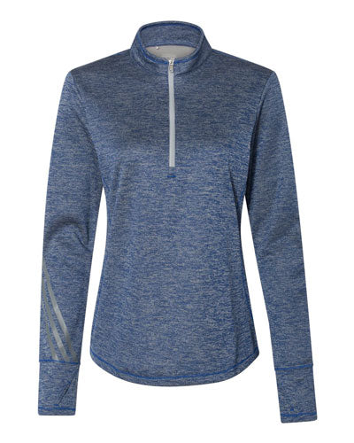 Collegiate Royal Heather/ Mid Grey Custom Adidas - Women's Brushed Terry Heather Quarter Zip Pullover