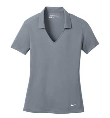 Cool Grey Nike Ladies Dri-FIT Vertical Mesh Polo With Logo