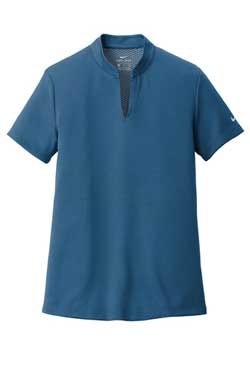 Court Blue Nike Ladies Dri-FIT Hex Textured V-Neck Top With Logo
