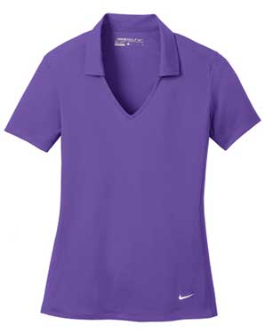 Court Purple Nike Ladies Dri-FIT Vertical Mesh Polo With Logo