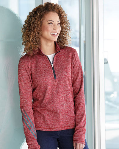 Custom Adidas - Women's Brushed Terry Heather Quarter Zip Pullover