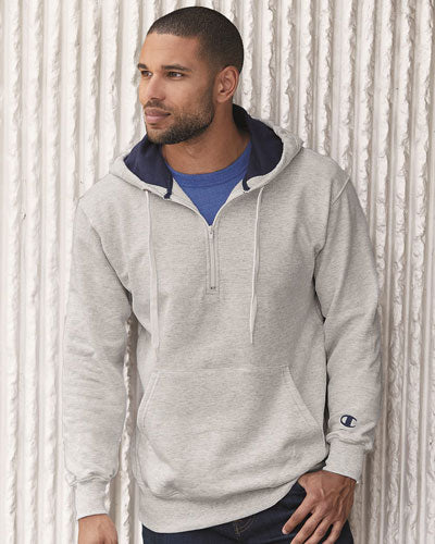 Custom Champion Cotton Max Hooded Quarter Zip Sweatshirt