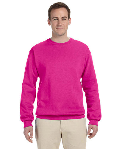 Cyber Pink Custom Jerzees Crewneck Sweatshirt with logo