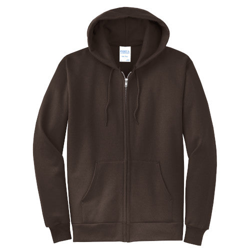 Dark Chocolate Brown Custom Full Zip Hooded Sweatshirt