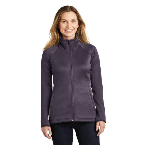 Dark Eggplant Purple Heather Custom The North Face Ladies Fleece Jacket with logo