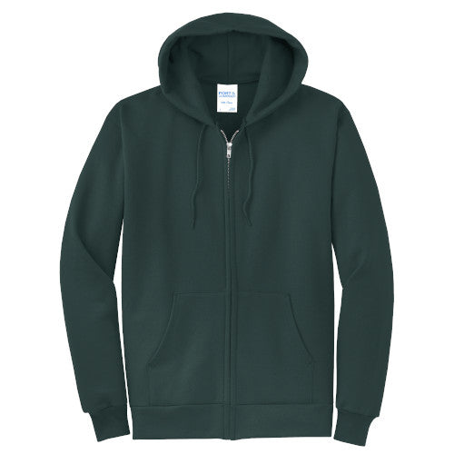 Dark Green Custom Full Zip Hooded Sweatshirt