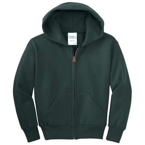 Dark Green Custom Youth Full Zip Hooded Sweatshirt