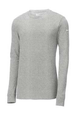 Dark Grey Heather Custom Nike Cotton Long Sleeve Tee