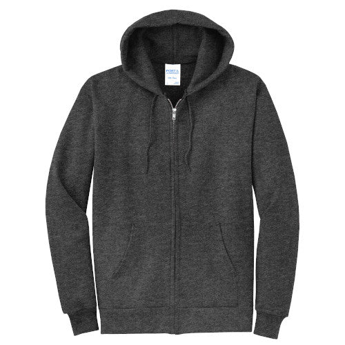 Dark Heather Grey Custom Full Zip Hooded Sweatshirt