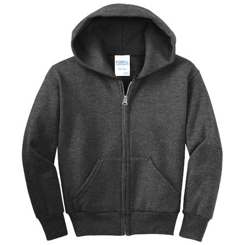 Dark Heather Grey Custom Youth Full Zip Hooded Sweatshirt