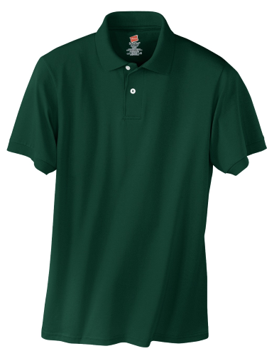 Deep FOrest Hanes Jersey Knit Polo With Logo