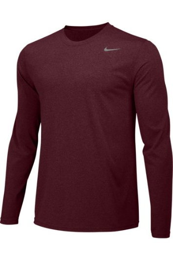 Deep Maroon Custom Nike Dri-FIT Long Sleeve T-Shirt