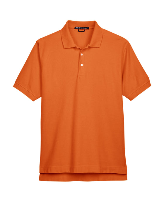 Deep Orange Custom Devon & Jones Pima Pique Polo With Logo