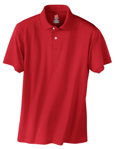 Deep Red Hanes Jersey Knit Polo With Logo