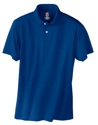 Deep Royal Hanes Jersey Knit Polo With Logo