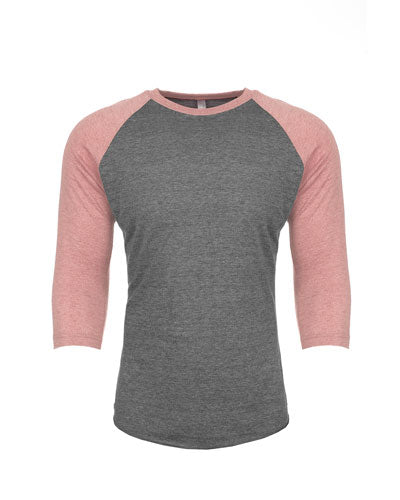 Desert Pink/ Prm Heather Custom Next Level Unisex Triblend 3/4-Sleeve Raglan