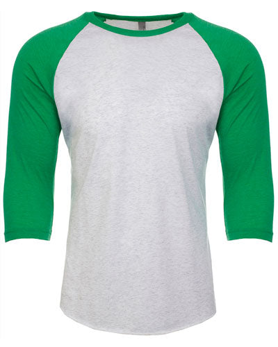 Envy/ Heather White Custom Next Level Unisex Triblend 3/4-Sleeve Raglan