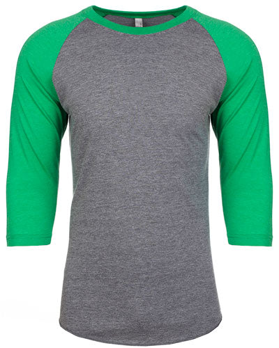 Envy/ Prem Heather Custom Next Level Unisex Triblend 3/4-Sleeve Raglan