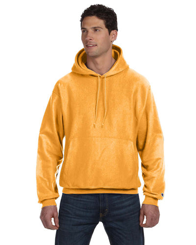Gold Custom Champion Heavyweight Hooded Sweatshirt with logo