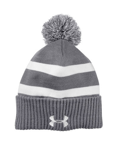 Graphite/ White Custom Under Armour Pom Beanie