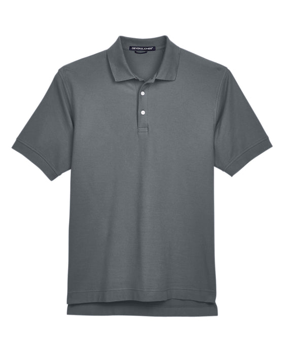 Graphite Devon & Jones Pima Pique Polo With Logo
