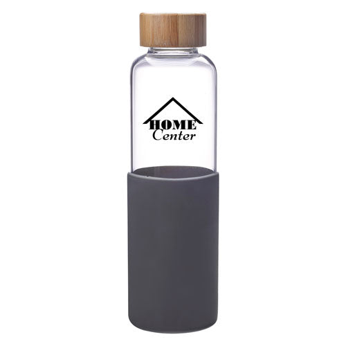 Gray Custom Modern Glass Water Bottle