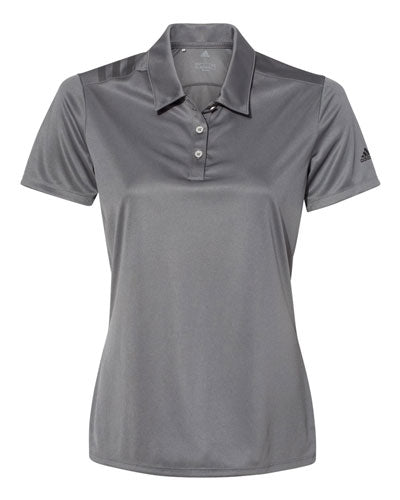 Grey Custom Adidas Womens 3 Stripe Polo