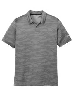 Grey Nike Dri-FIT Waves Jacquard Polo With Logo