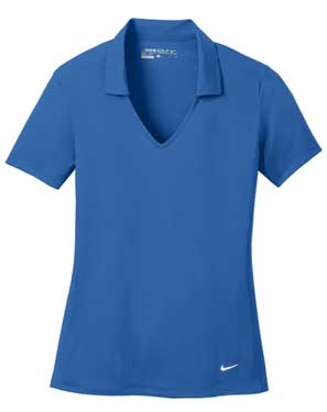 Gym Blue Nike Ladies Dri-FIT Vertical Mesh Polo With Logo