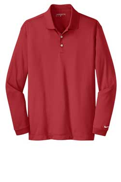 Gym Red Nike Long Sleeve Dri-FIT Stretch Tech Polo With Logo