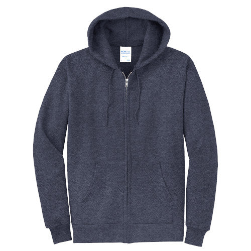 Heather Navy Custom Full Zip Hooded Sweatshirt