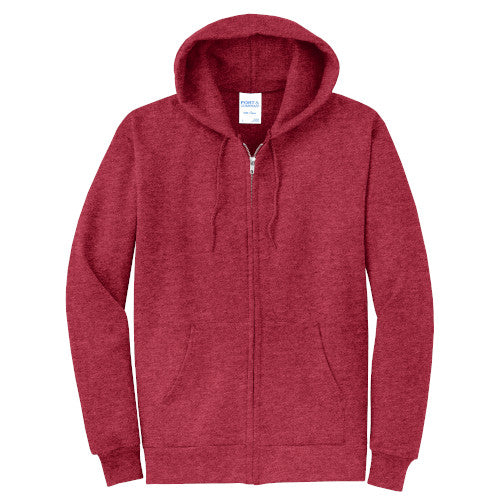 Heather Red Custom Full Zip Hooded Sweatshirt