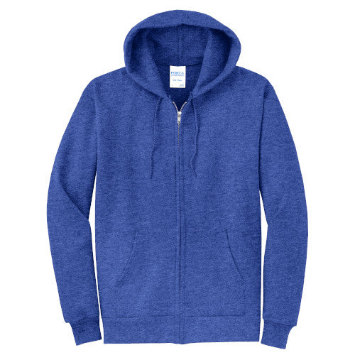 Heather Royal Custom Full Zip Hooded Sweatshirt