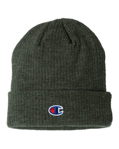 Heather Forest Custom Champion Ribbed Knit Cap