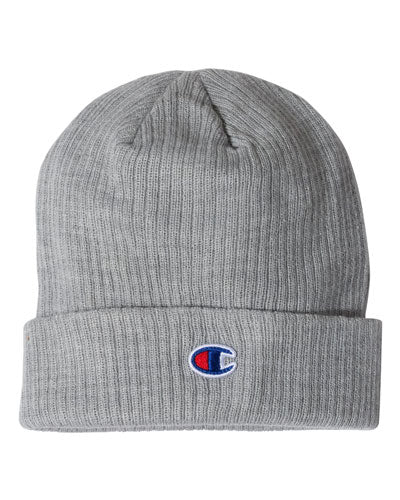 Heather Grey Custom Champion Ribbed Knit Cap