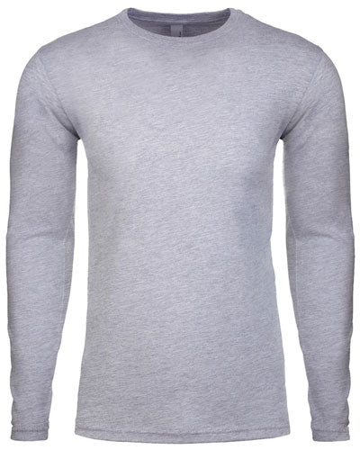 Heather Grey Custom Next Level Men's Cotton Long-Sleeve Crew