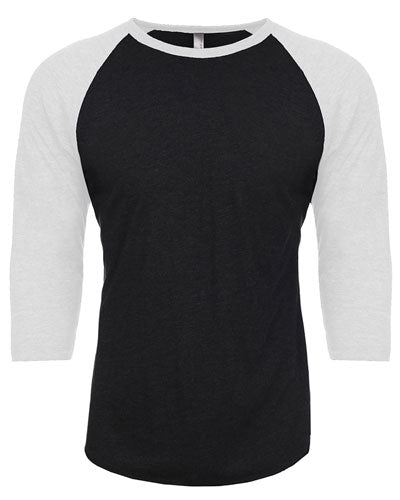 Heather White/ Vintage Black Custom Next Level Unisex Triblend 3/4-Sleeve Raglan