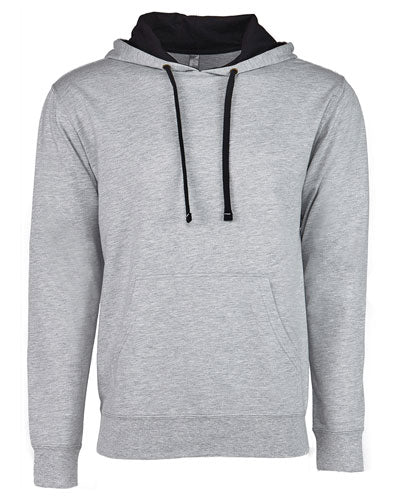 Heather Grey/ Black Custom Next Level Unisex French Terry Pullover Hoody