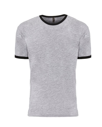 Heather Grey/ Black Custom Next Level Unisex Ringer T-Shirt