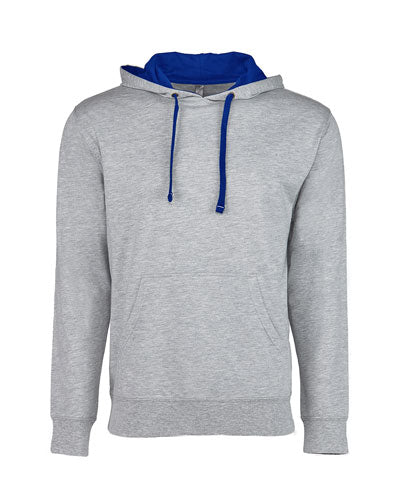 Heather Grey/ Royal Custom Next Level Unisex French Terry Pullover Hoody