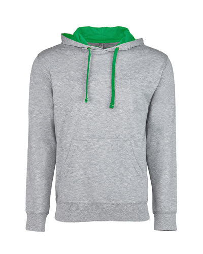 Heather Grey/ Kelly Green Custom Next Level Unisex French Terry Pullover Hoody
