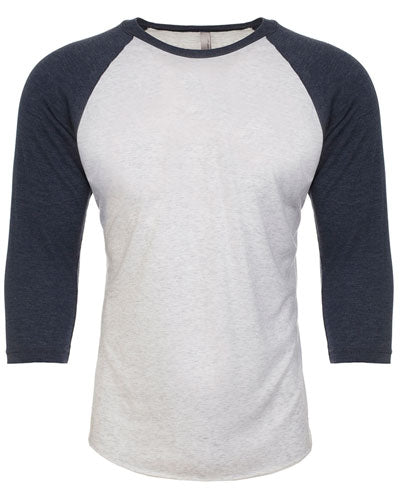 Indigo/ Heather White Custom Next Level Unisex Triblend 3/4-Sleeve Raglan