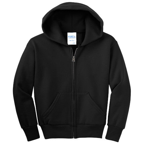 Jet Black Custom Youth Full Zip Hooded Sweatshirt