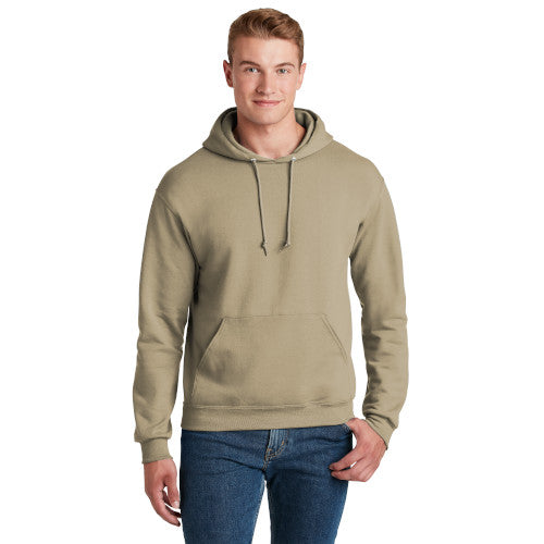 Khaki Custom Jerzees Hooded Sweatshirt with logo