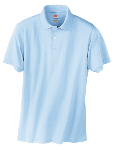 Light Blue Hanes Jersey Knit Polo With Logo