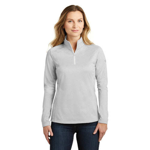 Light Grey Heather Custom The North Face Ladies Tech Quarter Zip Fleece Jacket with logo