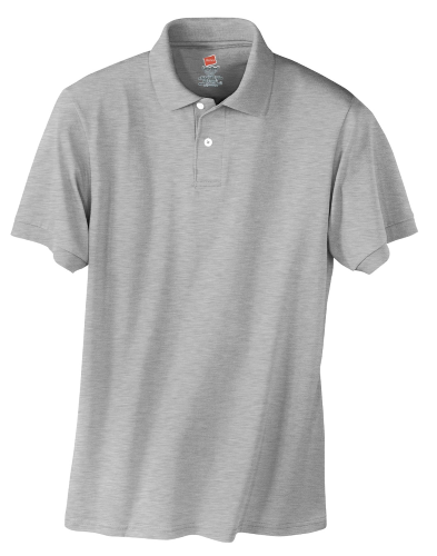 Light Steel Hanes Jersey Knit Polo With Logo
